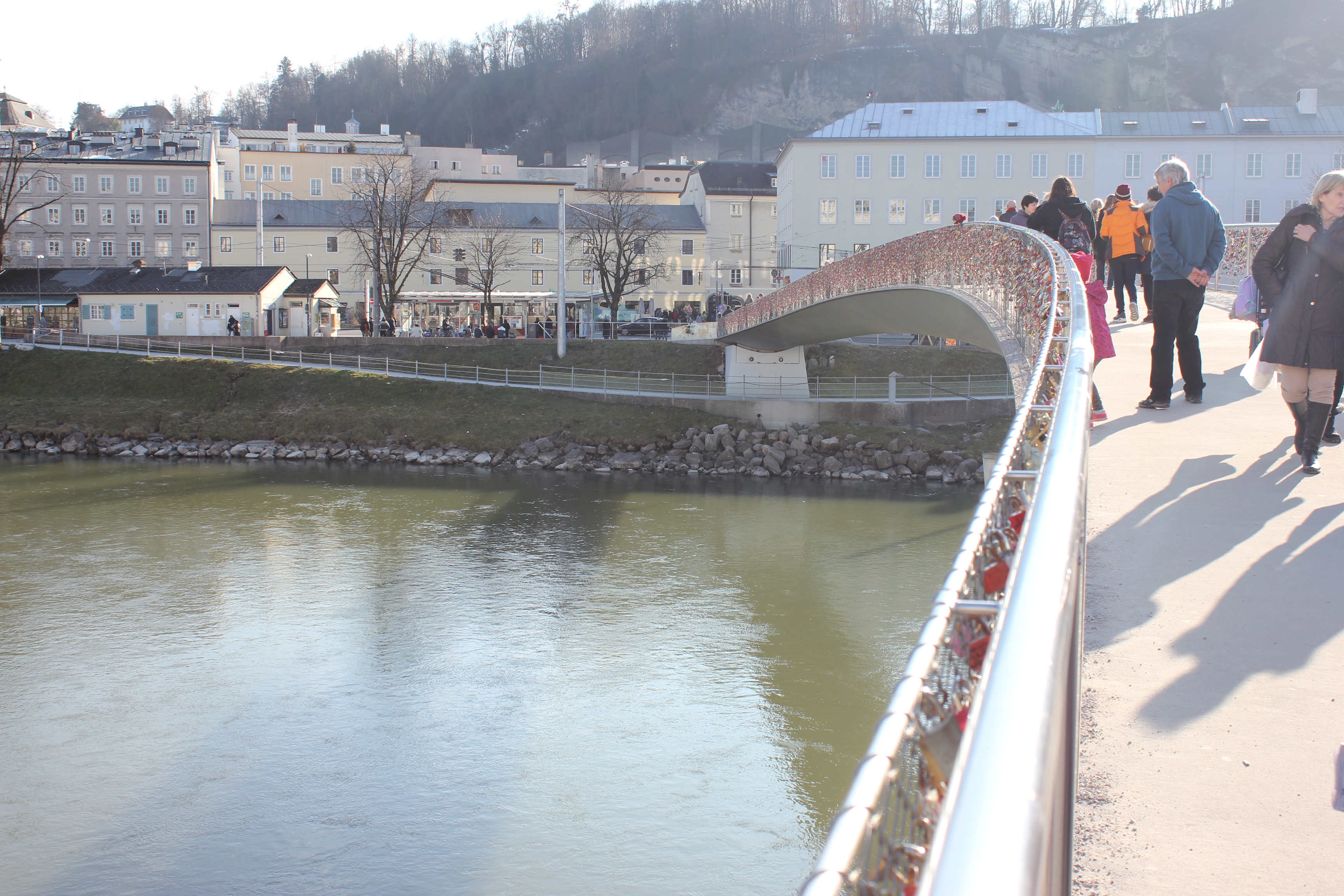 Makartsteg Bridge over the Salzach River in Salzburg, Austria
